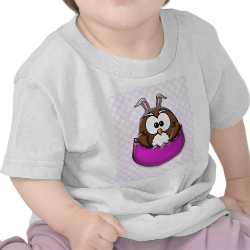 Easter owl - pink tee shirts