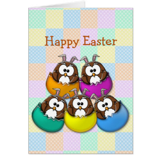 Easter owl - rainbow greeting card