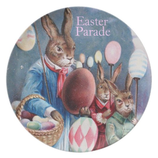 Easter Parade Plate Dressed Bunnies & Easter Eggs