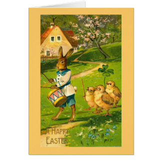 Easter Parade With Rabbit & Chicks Vintage Note Card
