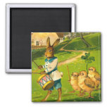 Easter Parade With Rabbit & Chicks Vintage Square Magnet