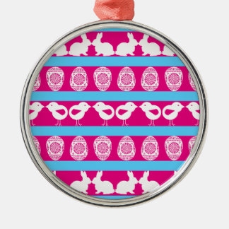 Easter pattern. Any background color Silver-Colored Round Decoration