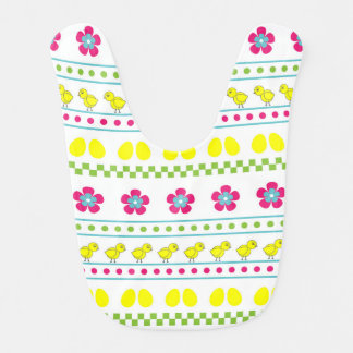 Easter pattern with chiken and eggs on white bib