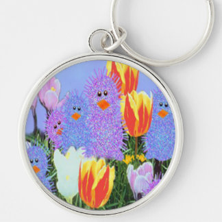 Easter Peeps Silver-Colored Round Key Ring