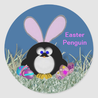 Easter penguin gifts t shirts art posters other gift ideas easter penguin classic round sticker negle Images