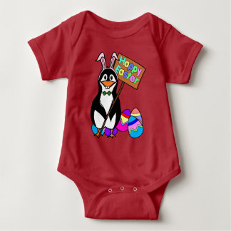 Easter bunny penguin gifts t shirts art posters other gift easter penguin with colored eggs baby bodysuit negle Image collections