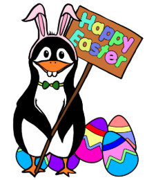 Easter penguin gifts on zazzle uk easter penguin with colored eggs card negle Image collections