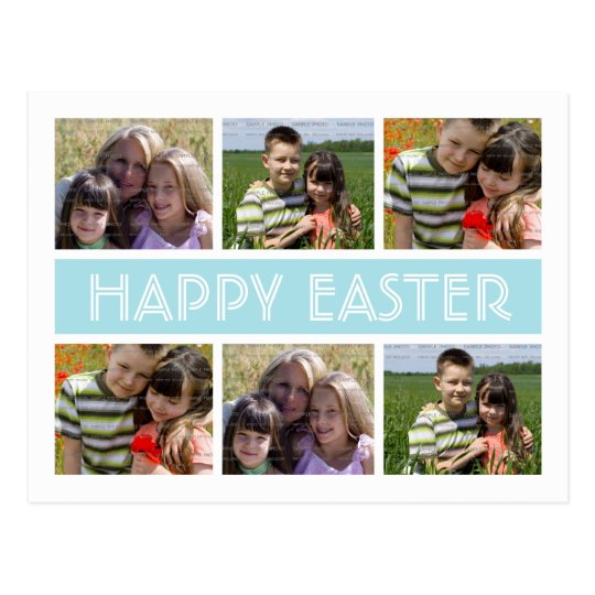 Easter Photo Collage Postcard Template | Blue