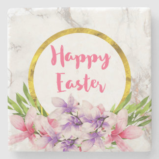 Easter Pink and Purple Watercolor Magnolias Stone Coaster