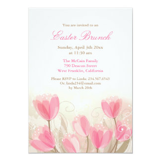 Easter Pink Tulips Flowers Flat Card 13 Cm X 18 Cm Invitation Card