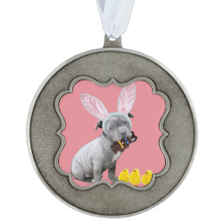 Easter pitbull puppy scalloped pewter christmas ornament