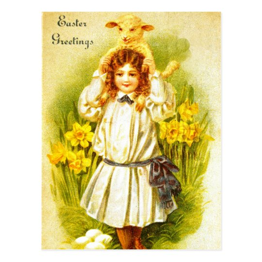 Easter Postcard with Sweet Victorian Girl Lamb