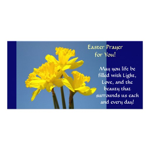 Easter Prayer Cards Daffodils Flowers Spring Custom Photo Card