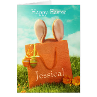 Easter Present with Rabbit and Easter Eggs Card