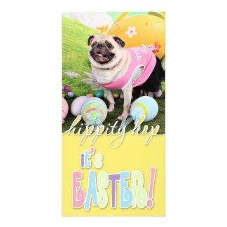 Easter - Pug -Hannah Customized Photo Card