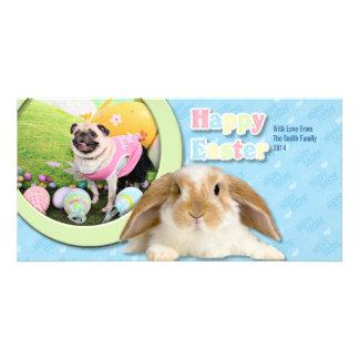 Easter - Pug -Hannah Custom Photo Card