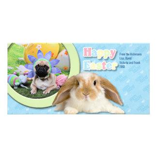 Easter - Pug - Louie Customized Photo Card