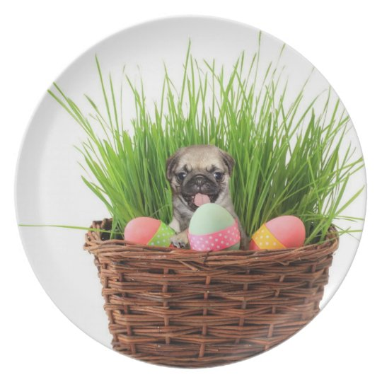Easter pug puppy plate