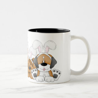 Easter Puppies Two-Tone Coffee Mug