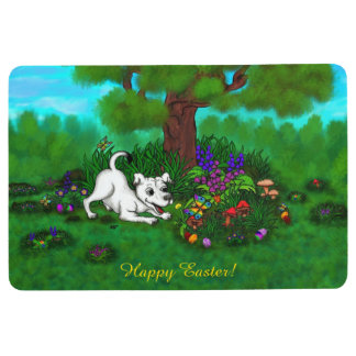 Easter - Puppy Capo and Butterfly Floor Mat