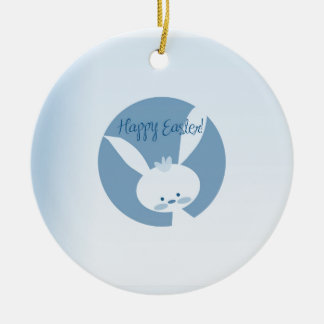 Easter Rabbit Round Ceramic Decoration