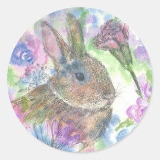 Easter Rabbit Spring Garden Round Sticker