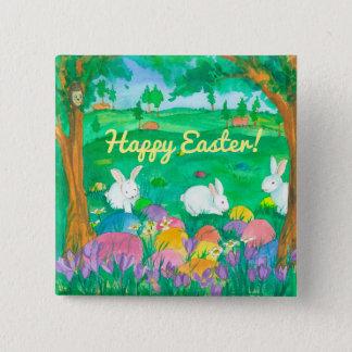 Easter Rabbits 15 Cm Square Badge