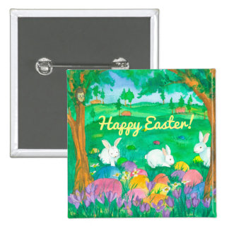 Easter Rabbits 15 Cm Square Badge