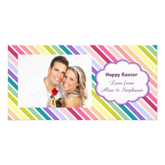 Easter Rainbow Stripes Photo Cards
