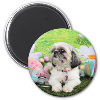 Easter - Shih Tzu - Sophie 6 Cm Round Magnet