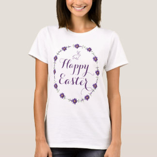 Easter Shirts For Women With Purple Floral Wreath