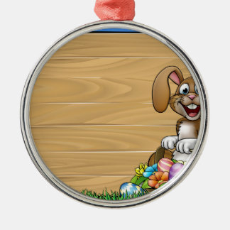 Easter Sign Bunny Eggs Background Silver-Colored Round Decoration