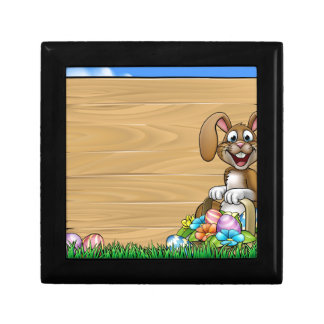 Easter Sign Bunny Eggs Background Small Square Gift Box