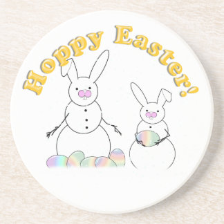 Easter Snowmen Snow Bunnies Beverage Coasters