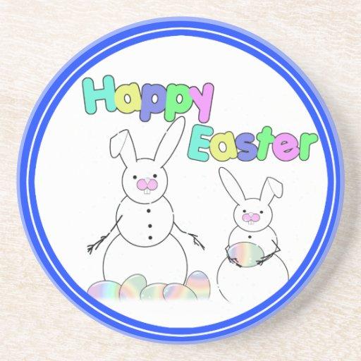 Easter Snowmen Snow Bunnies Coaster