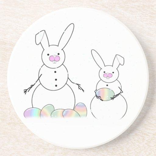 Easter Snowmen Snow Bunnies Coasters