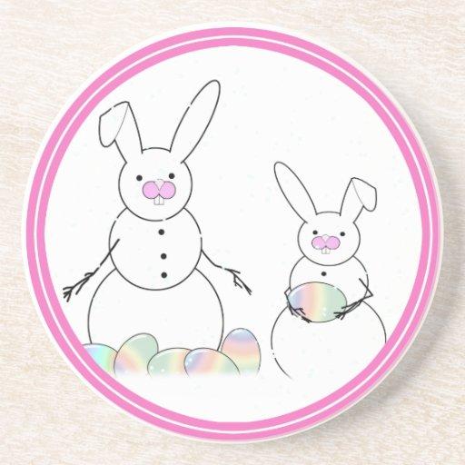Easter Snowmen Snow Bunnies Drink Coaster