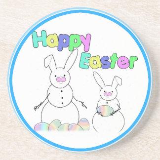 Easter Snowmen Snow Bunnies (Colorful Text) Coaster