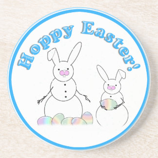 Easter Snowmen Snow Bunnies 'HOPPY EASTER' Beverage Coaster