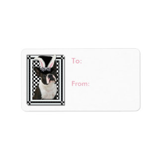 Easter - Some Bunny Loves You - Boston Terrier Address Label
