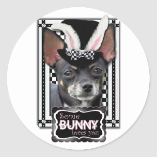 Easter - Some Bunny Loves You - Chihuahua Round Sticker
