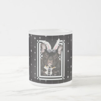 Easter - Some Bunny Loves You - French Bulldog Frosted Glass Mug