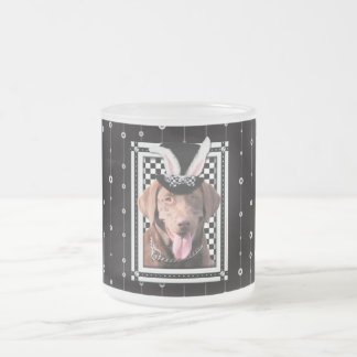 Easter - Some Bunny Loves You - Labrador Chocolate Frosted Glass Mug