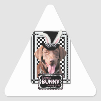 Easter - Some Bunny Loves You - Labrador Chocolate Triangle Sticker