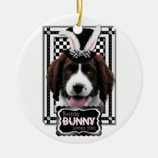 Easter - Some Bunny Loves You - Springer Spaniel Double-Sided Ceramic Round Christmas Ornament
