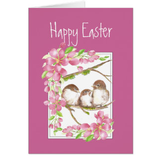 Easter, Spring , Cherry Blossom, Sparrows, Bird Greeting Card