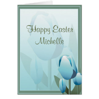 Easter Spring Tulip Turquoise Greeting Card