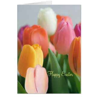 Easter. Spring tulips. Greetings. Card
