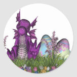 Easter Surprise Baby Dragon Round Stickers