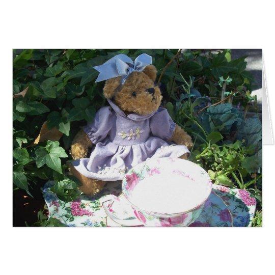 Easter Teddy Bear Tea Set Note Greeting Card